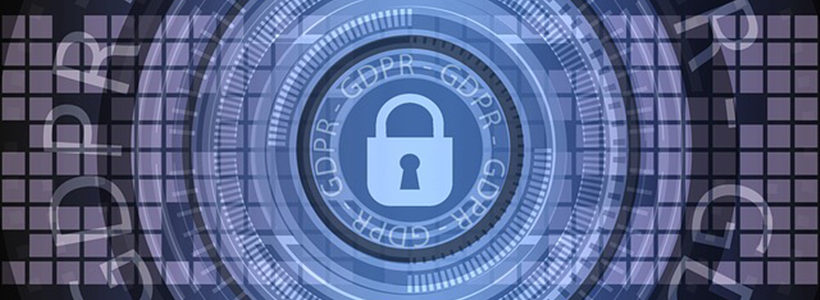 abstract gdpr graphic, dark blue and digital