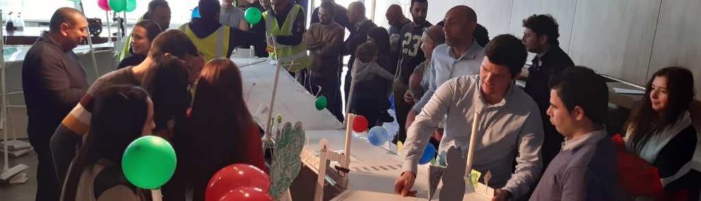 photo of employees during company event working together