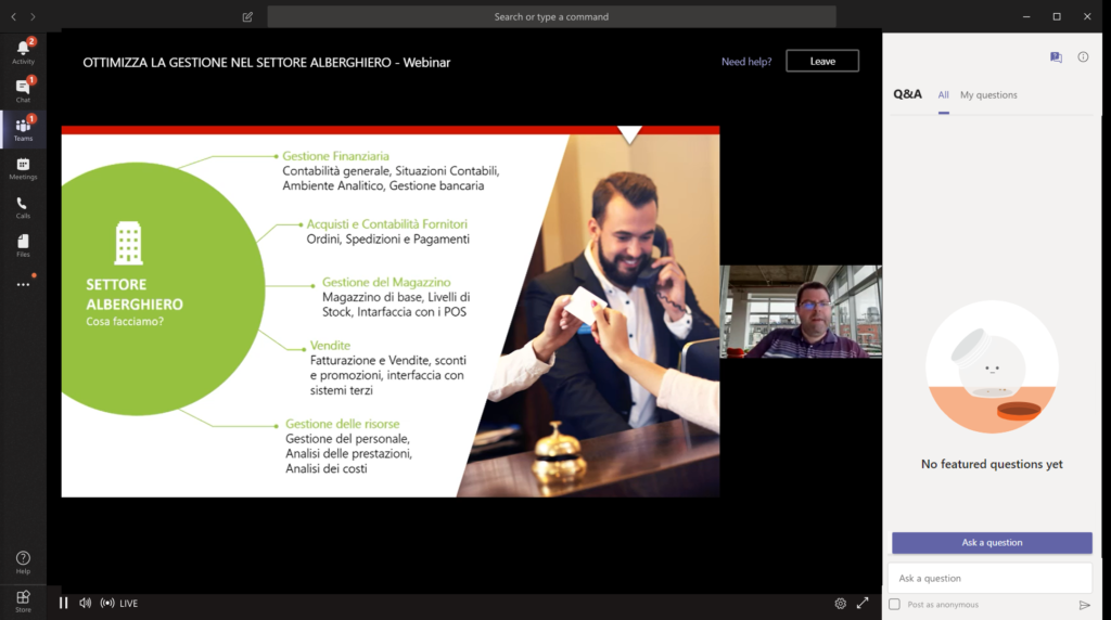 photo of webinar with ceo discussing hospitality industry