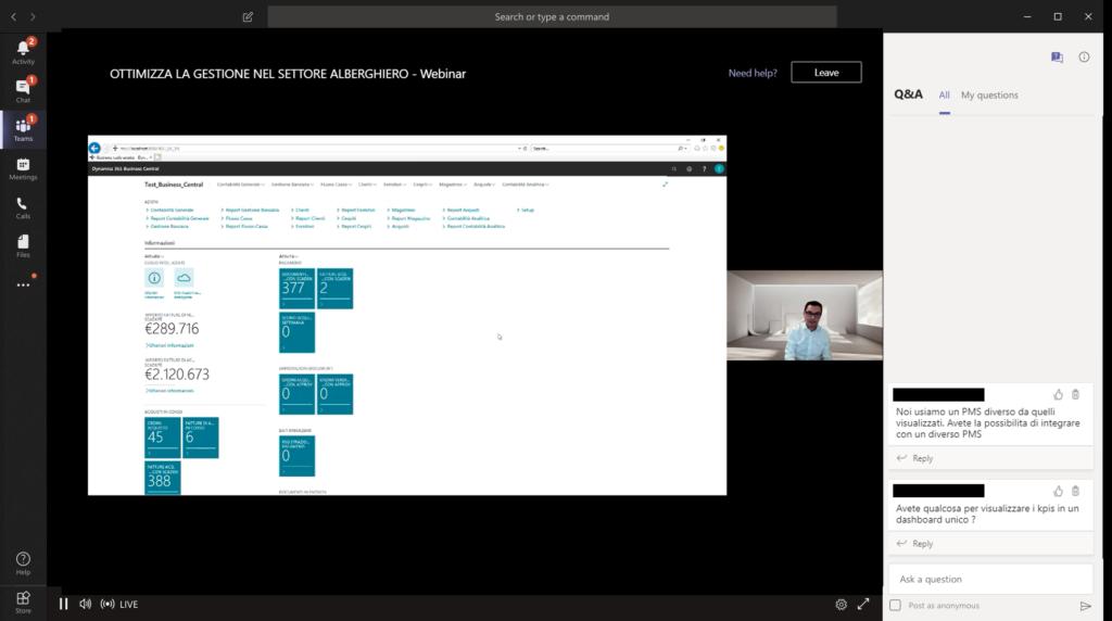 screenshot of webinar showing business central