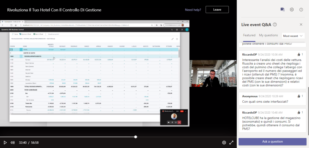 photo of webinar with business central being shown