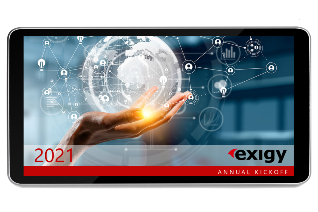 tablet showing exigy annual 2021 kickoff