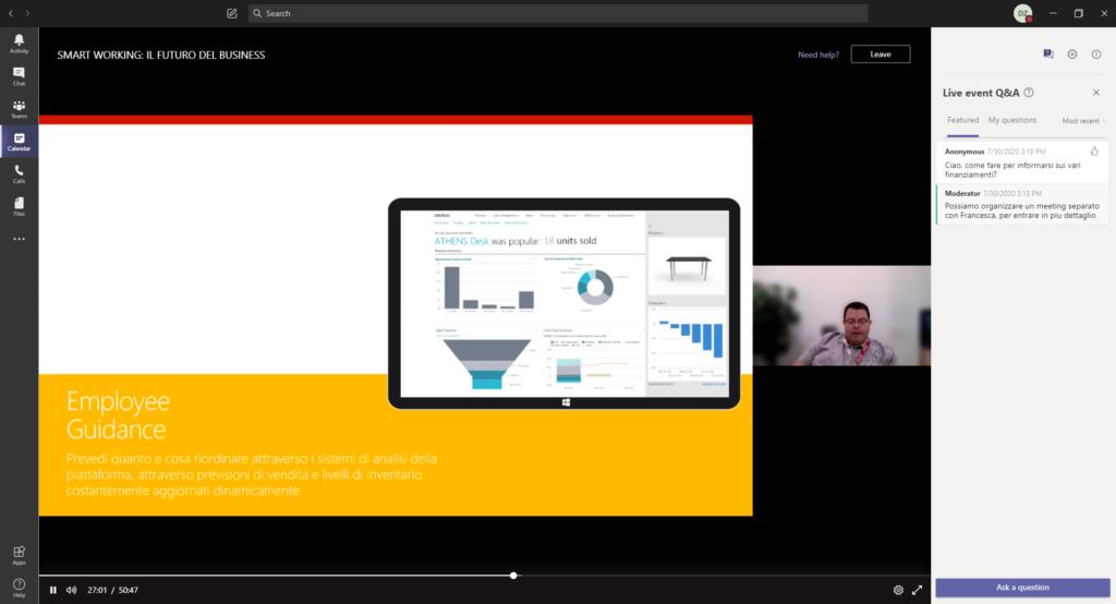 screenshot of webinar, ceo discussing employee guidance