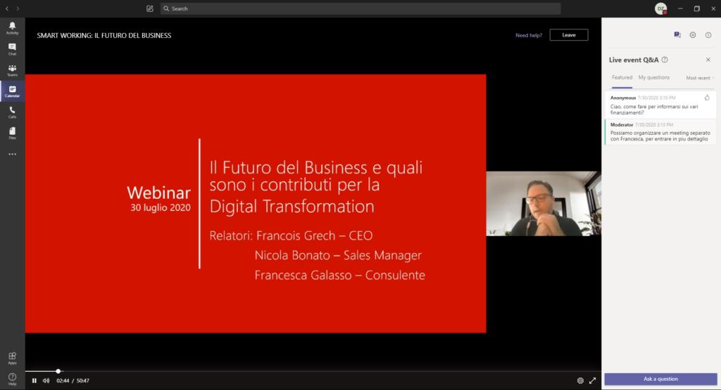 screenshot of webinar, employee introducing webinar
