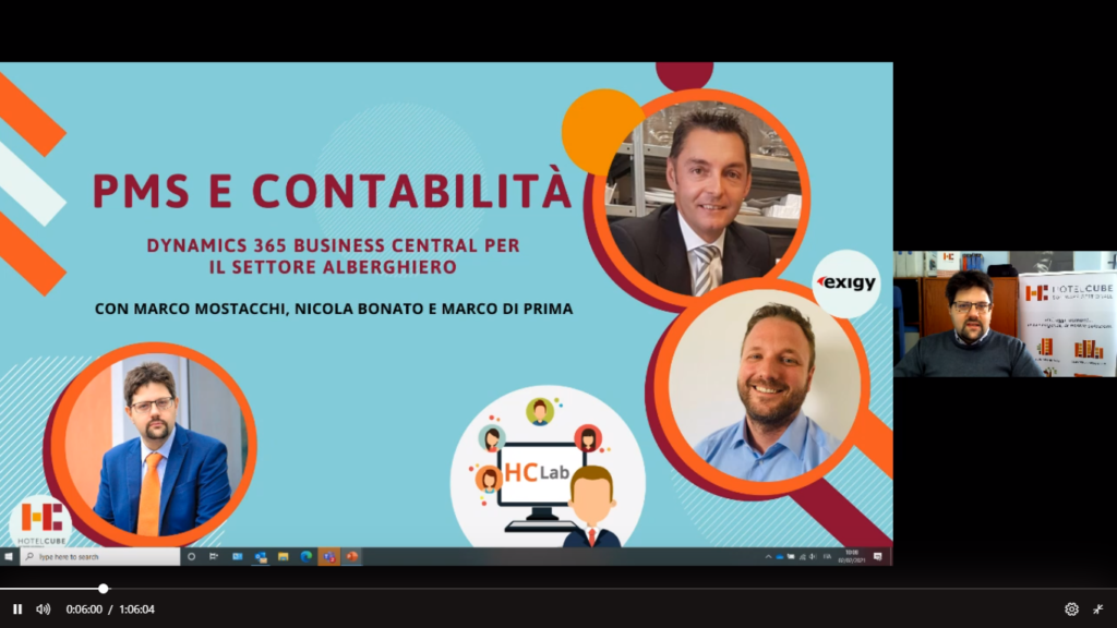 Screenshot of business central and hotelcube webinar
