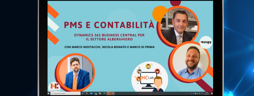 tablet showing business central and hotelcube webinar