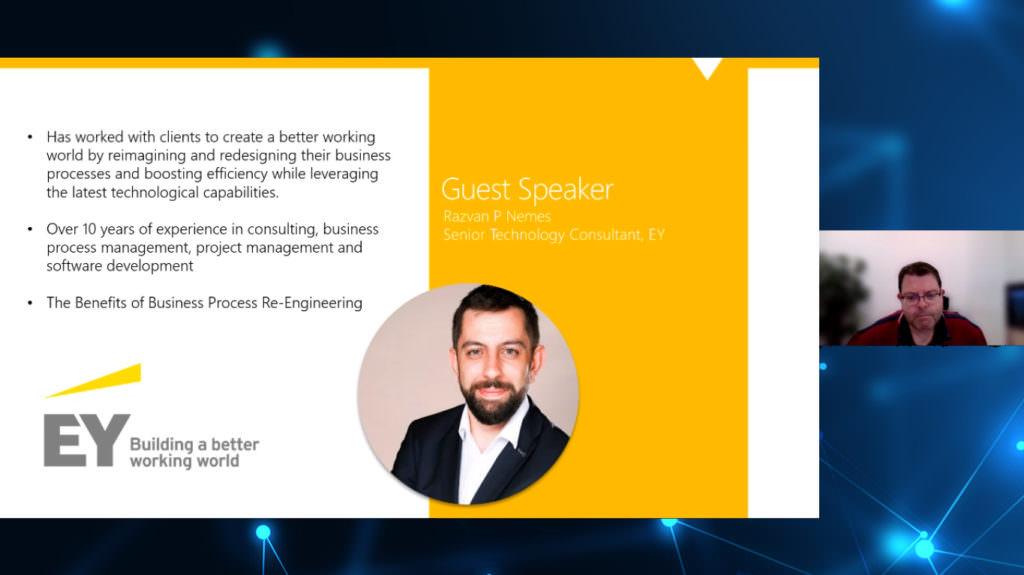 Screenshot of SEO presenting webinar with EY