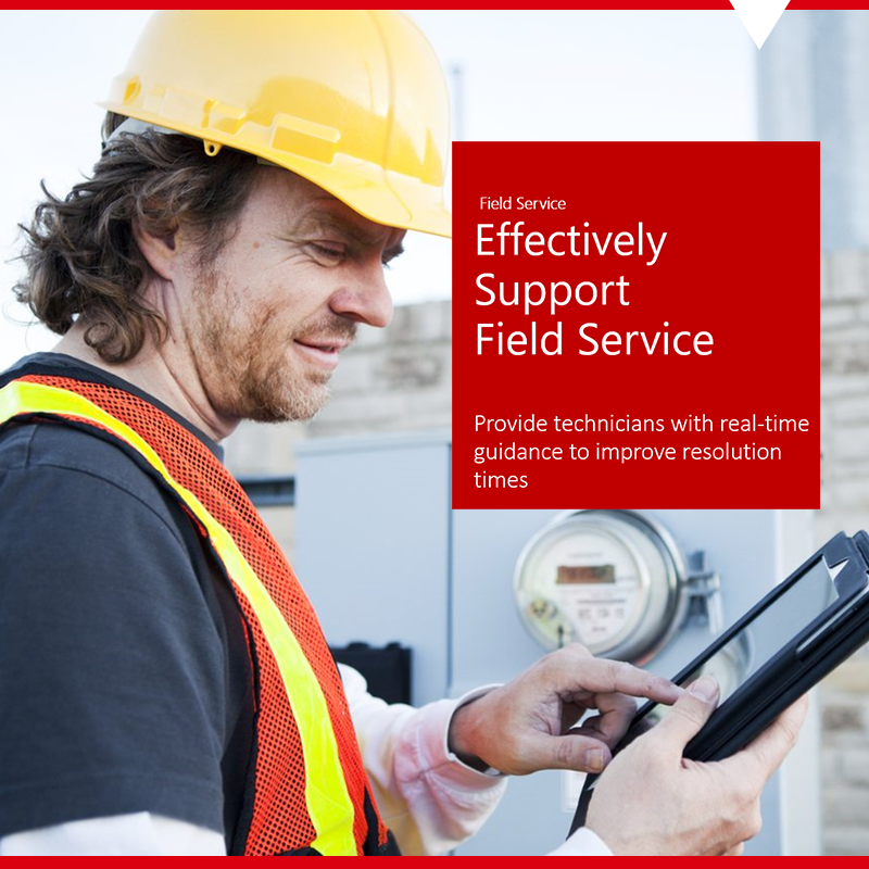 Field Service employee using tablet for Dynamics 365