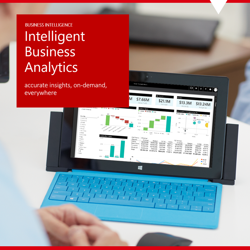 tablet showing intelligent business analytics with Power BI
