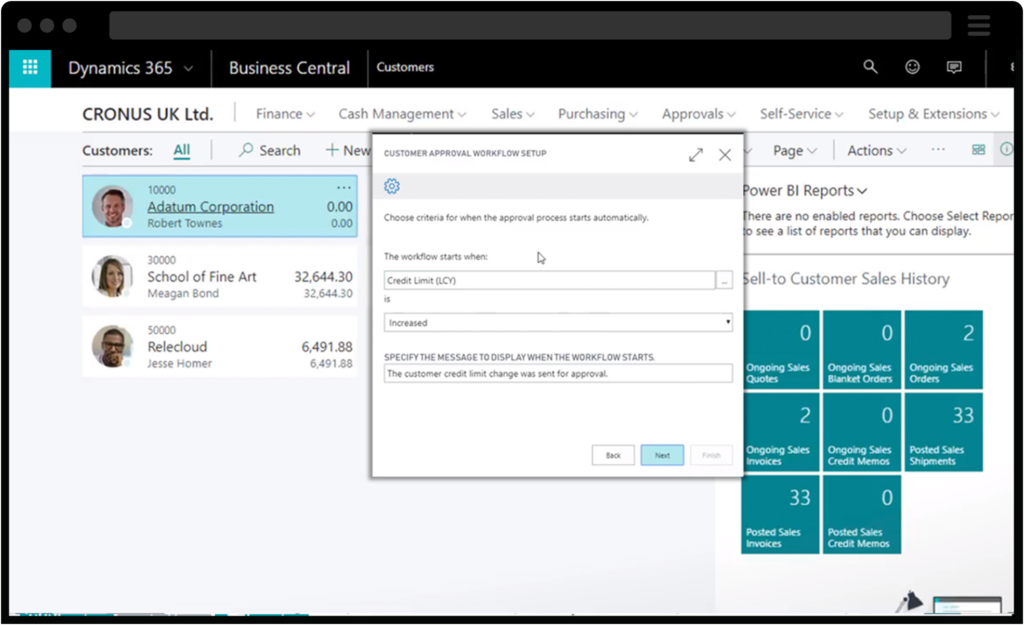 Screenshots of Business Central approval workflows