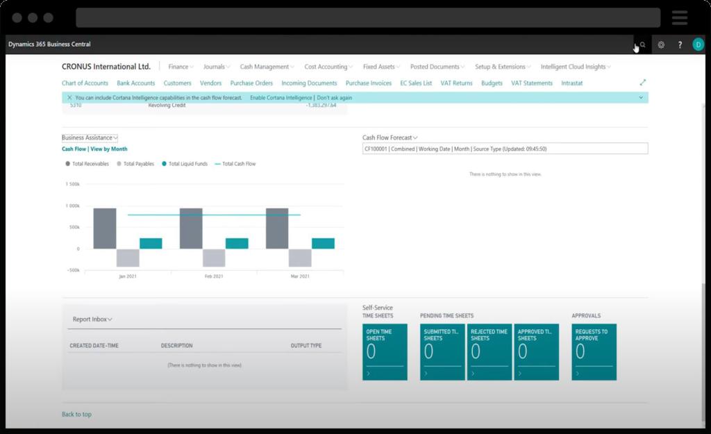Screenshot of Dynamics 365 Business Central Cash Flow Forecasting