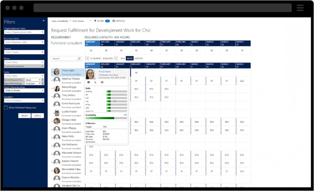Screenshots of Dynamics 365 for Project Service Resource Alignment