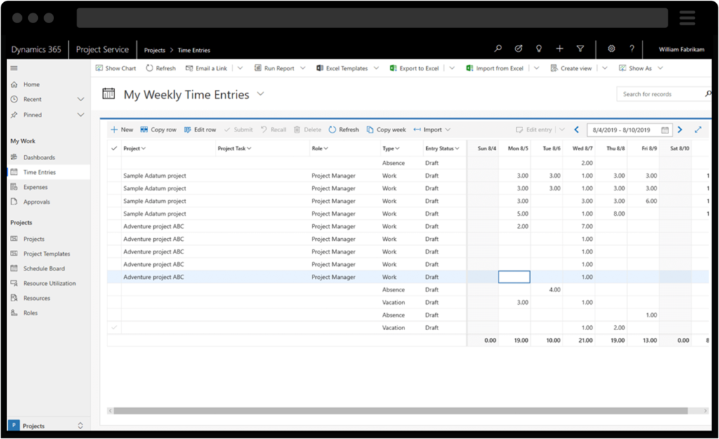 Screenshot of Dynamics 365 for Project Service