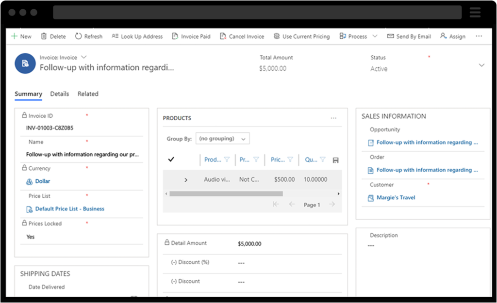 Screenshot of Dynamics 365 for Project Service, Billing Dashboard