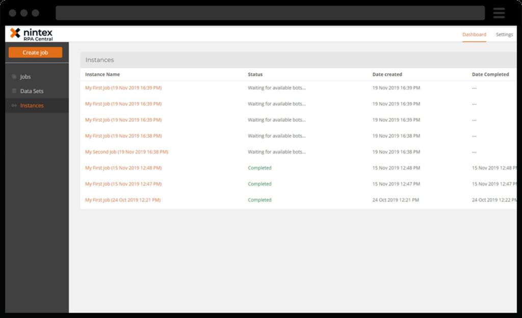 screenshot showing Nintex bots