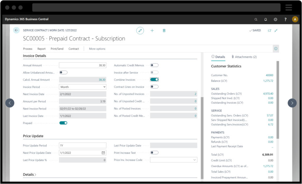 Screenshot of Dynamics 365 Business Central Service Contract