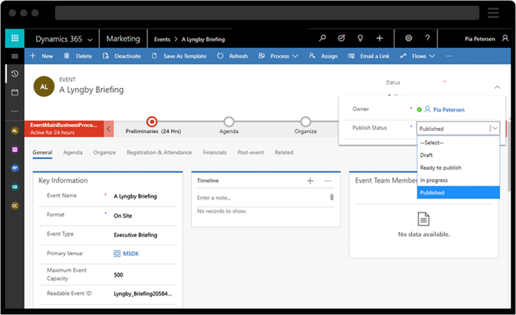 Screenshot of Dynamics 365 Marketing Attendance Tracking