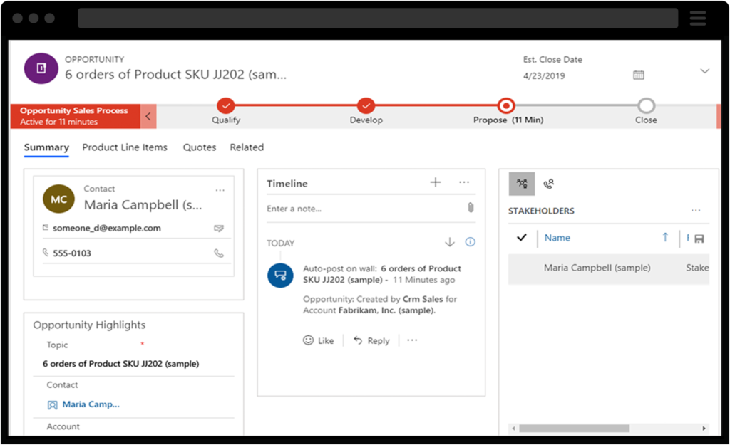Screenshot of Dynamics 365 Sales Opportunity Management
