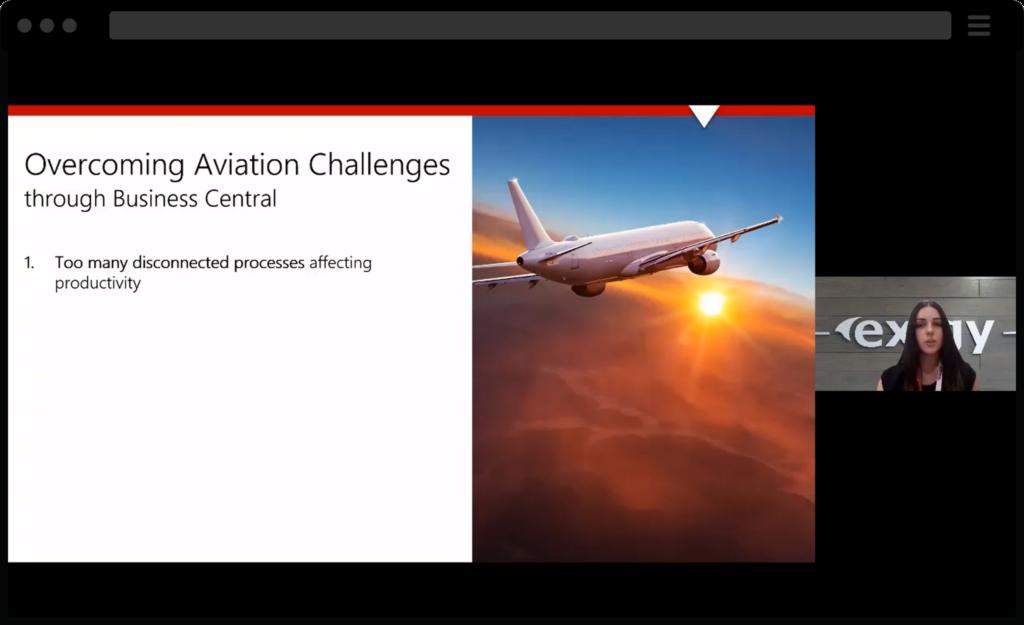 Screenshot of webinar, Business Central
