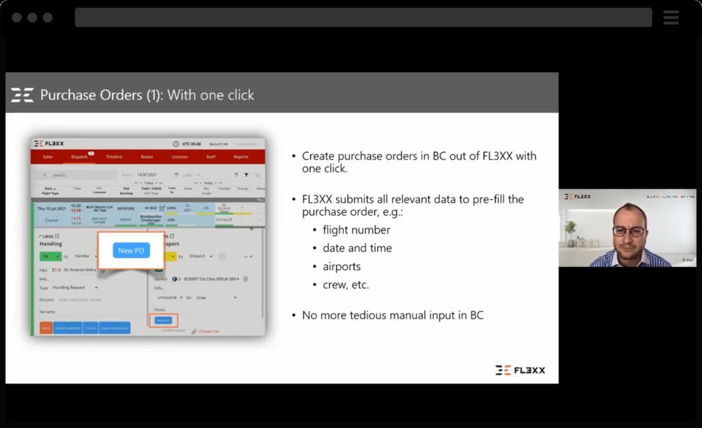 Screenshot of webinar for FL3XX