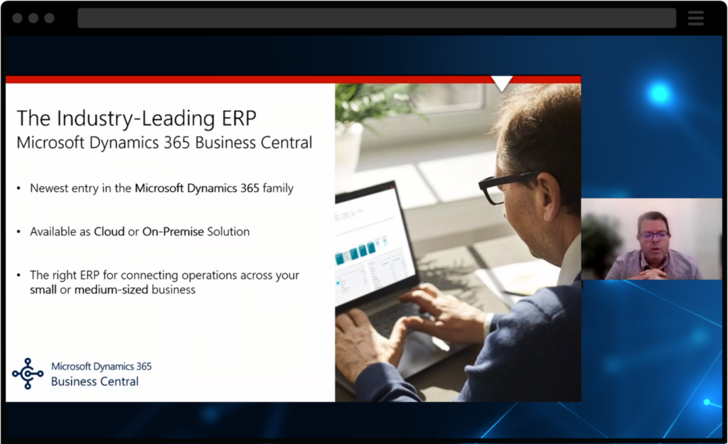 screenshot of webinar with ceo discussing functionalities of microsoft dynamics 365
