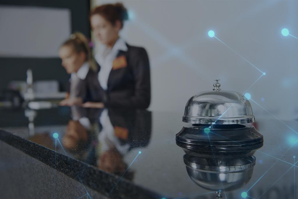 hotel front desk over digital background