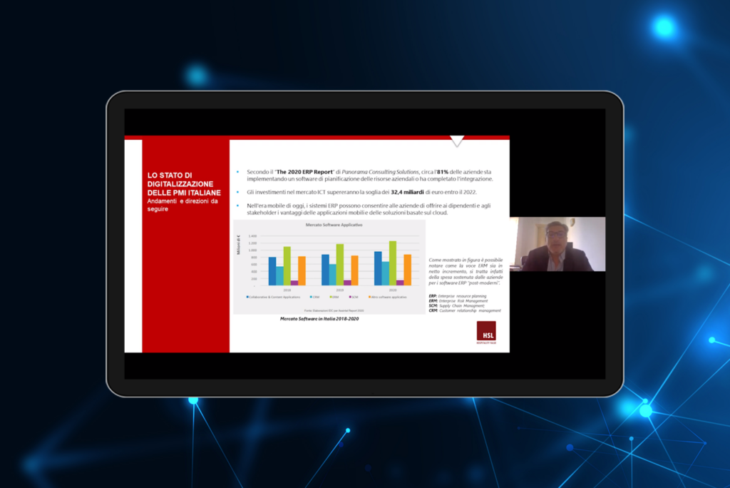 Tablet showing Maurizio Costanzo during HSL Webinar