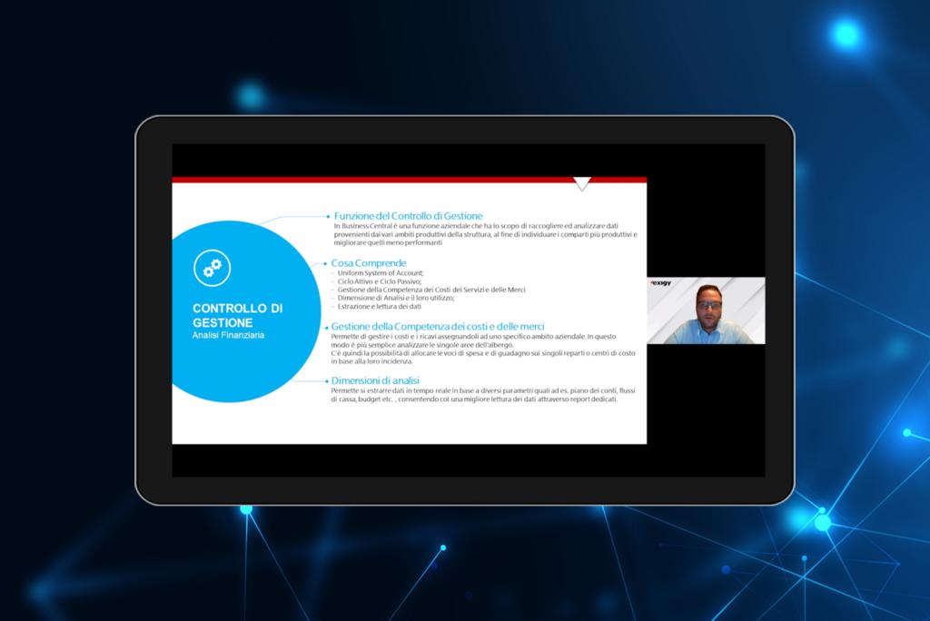 Tablet showing Nicola Bonato during Exigy Webinar