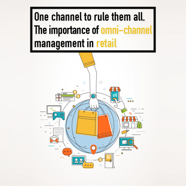 Multiple channels of retail illustration, colourful